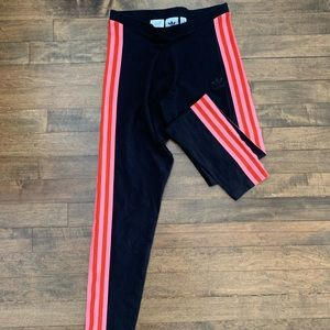 Adidas side stripe bright pink leggings
